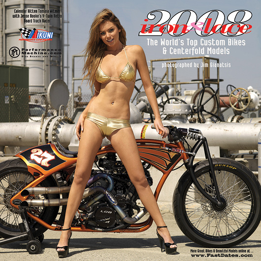 Iron and lace, Tamara Witmer, Jesse Rooke, motorcycle calendar, swimsuit calendar, Playboy Playmate