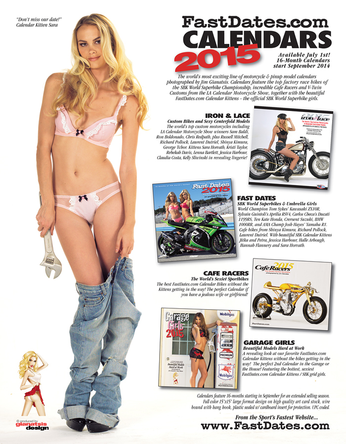 world premier new 2015 Fastdates.com Motorccyle pinup Calendars