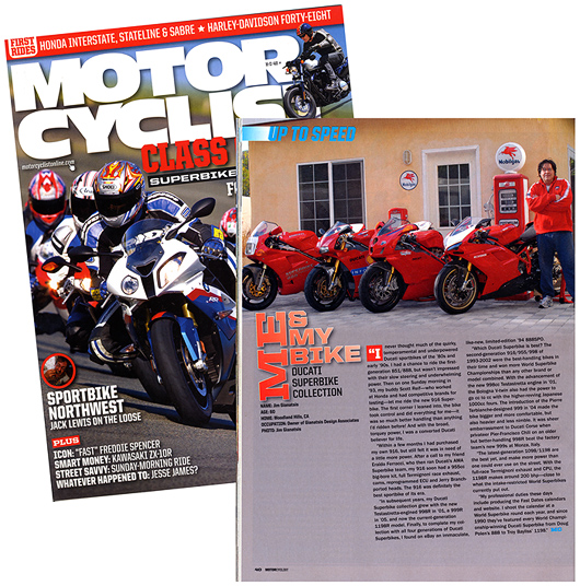 Jim Gianatsis in Motorcyclsit Magazne July 2010