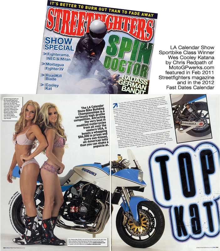 Streetfighters magazane Wes Cooley Katana by MotoGPwerks LA Calendar Show winner