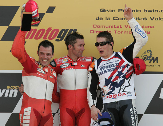 Troy Baylis at Valencia MotoGP with Loris Capirossi and Nicky Hayden.
