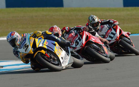Max Biaggi, Noriyuki Haga, Troy Corser, Donnington World Superbike