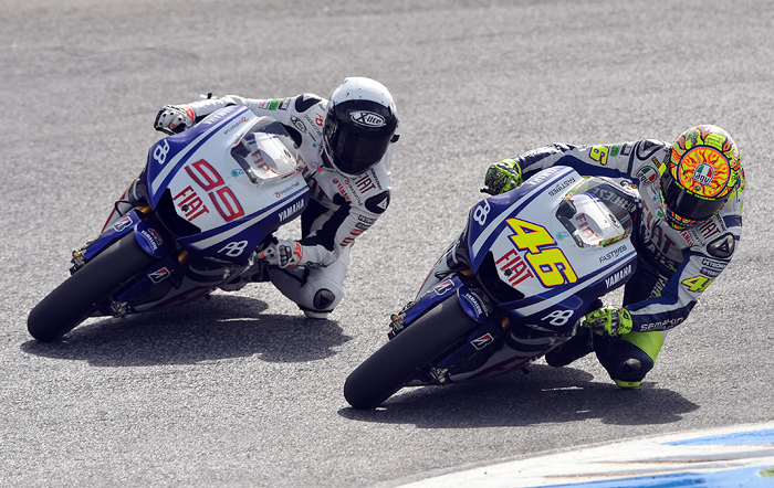 Jorge Lorenzo, Valentino Rossi action photo