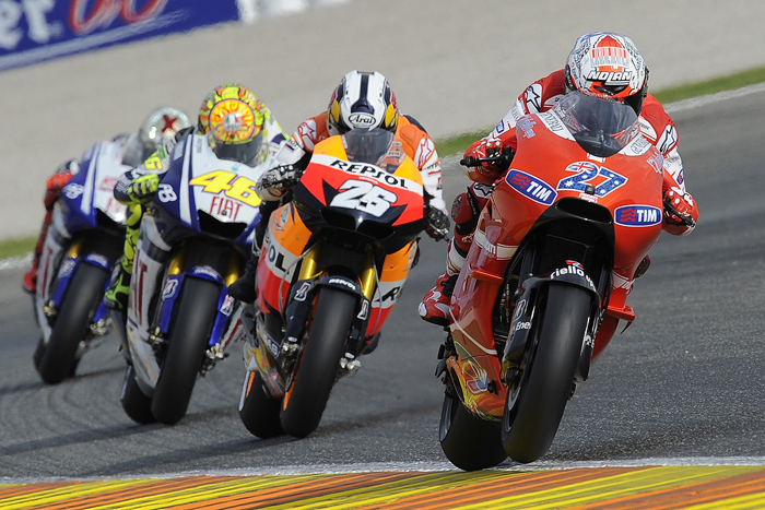 Casey Stoner leading the MotoGP race at Valencia