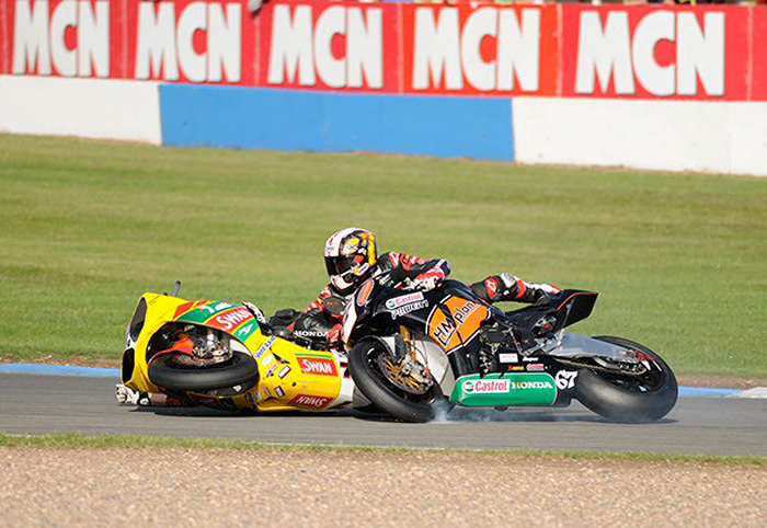 Shakey Byrne, Eugene lverty crash Donnington