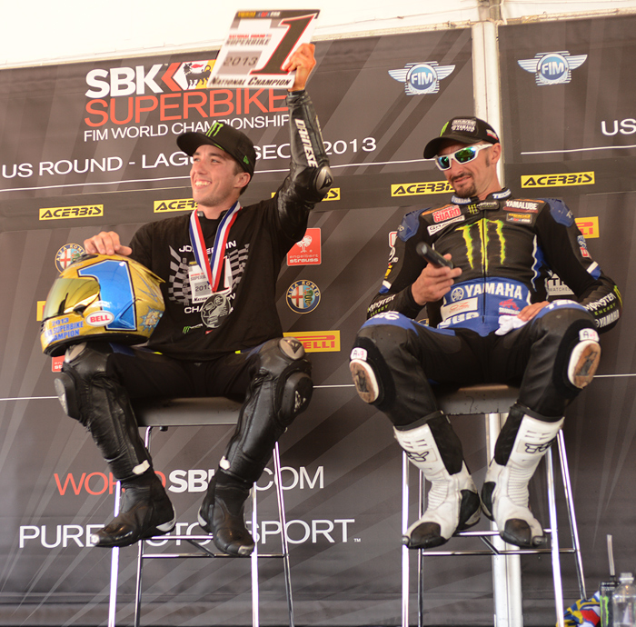 Josh Herrin and Josh hayes AMA Superbike Champion photo Laguna Seca
