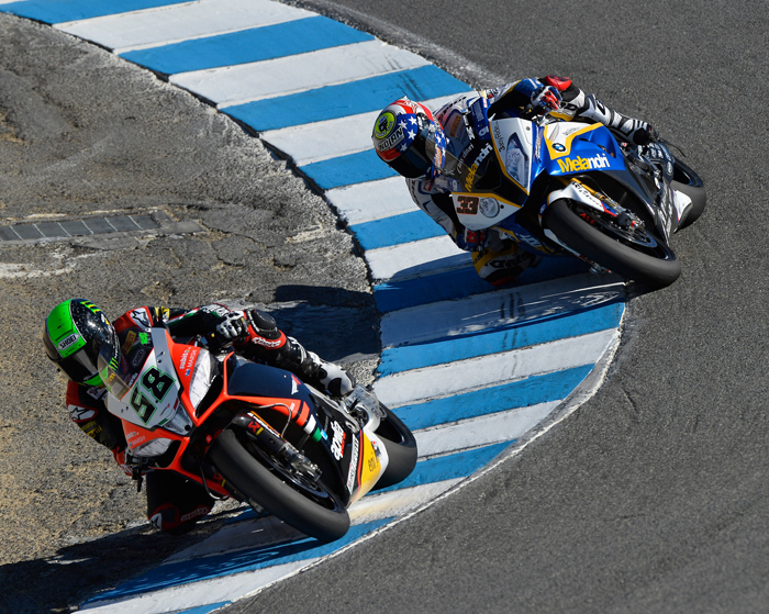 Laverty Melandi laguna Seca Corkscrew race action