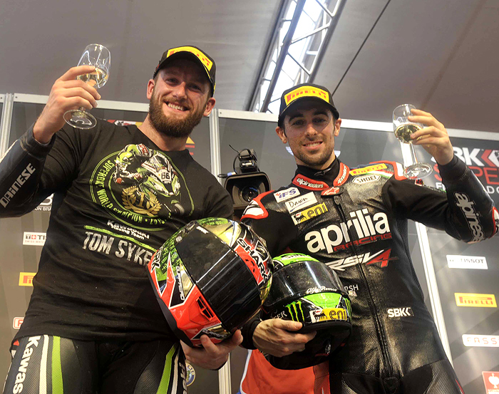 Tom Sykes Eurene Laverty celebrate 2013 SBK Superbike Championship