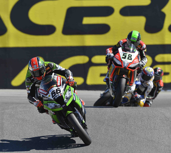 Tom Sykes, Eugene Lavery laguna Seca World Superbike race action photo