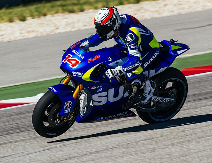 DePuniet action Suzuki MotoGP bike test photo