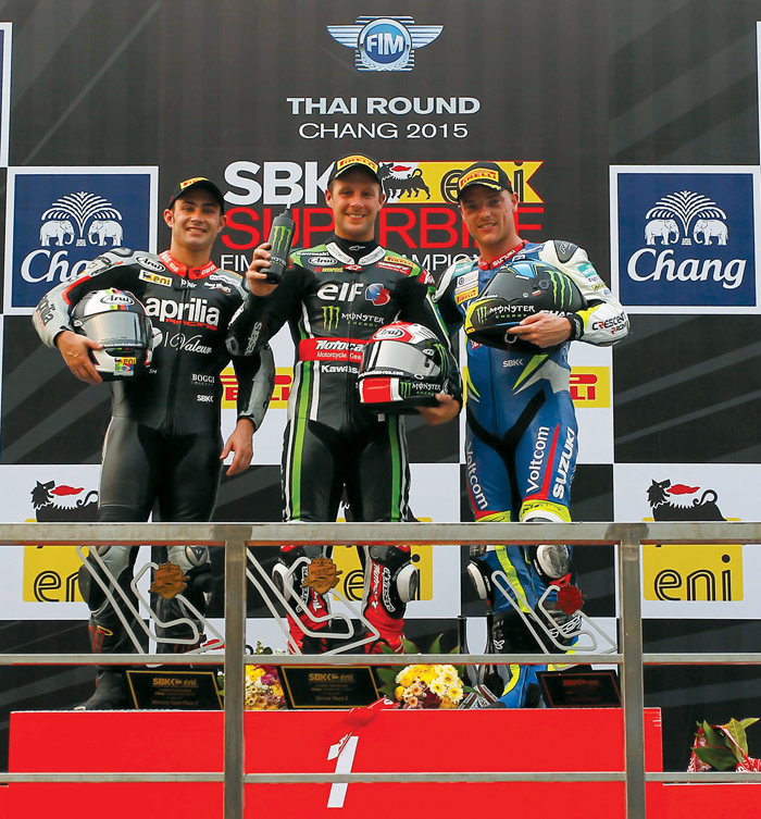 SBK race podium Thailand Superbike 2015
