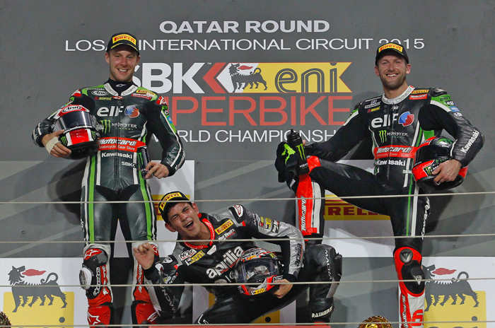 Jordi Torres podium photo Qatar World Superbike 2105