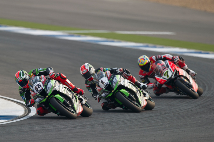 Sykes Rea Davies SBK race action photo