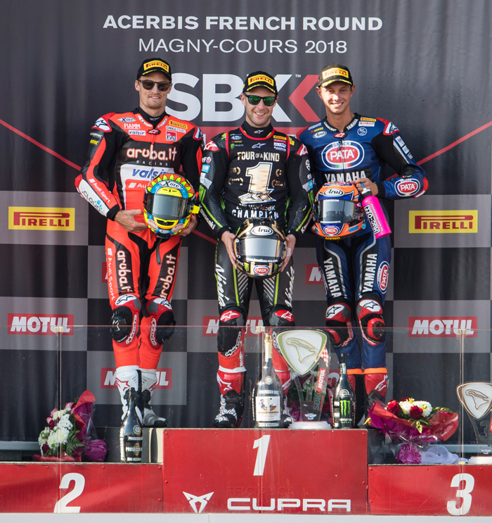 Jonthan Rea podium Magny Cours 2018 SBK World Supetbike 4 time champion
