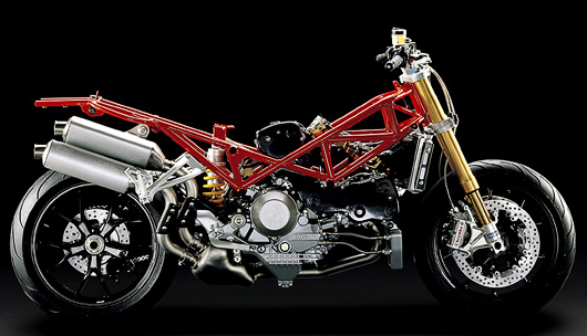 the red colored part is the trellis frame look carefully and you shall see the three points at which the engine is mounted on to the frame 3 on each side - Motorcycle Picture Frame