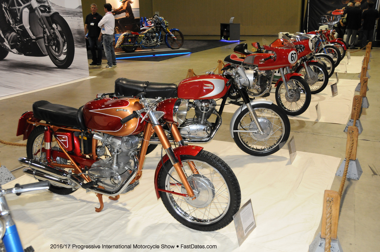 There Was Also A Big Display Of Vintage Ducati Street And Race Bikes Featuring The Iconic Single Cylinder Bevel Drive Engines
