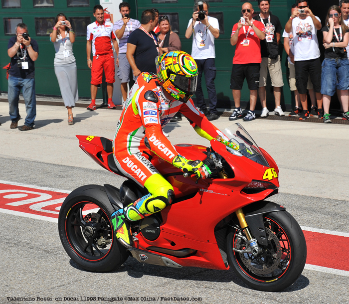 Valentino Rossi riding Ducati 1199 Panigale at World Ducati Week